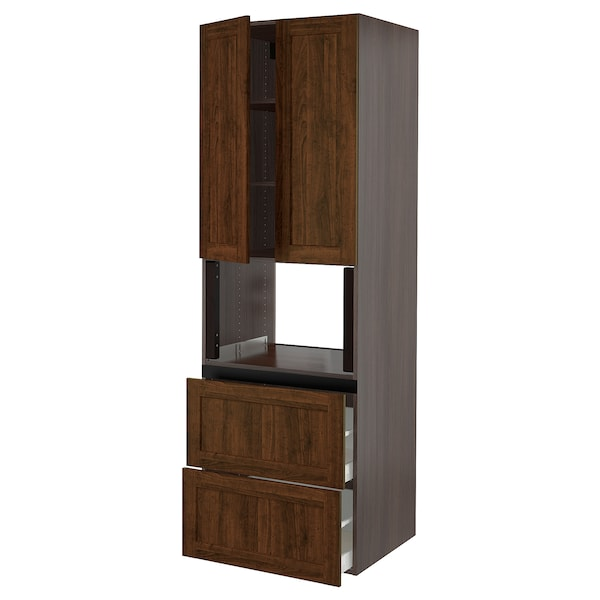 SEKTION Hi cb f micro w 2 drawers/2 doors, brown/Edserum brown, 30x24x90 ""