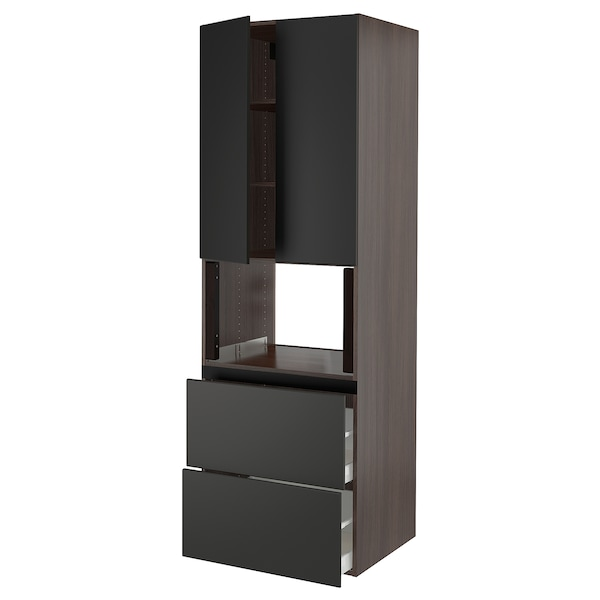 SEKTION Hi cb f micro w 2 drawers/2 doors, brown/Kungsbacka anthracite, 30x24x90 ""