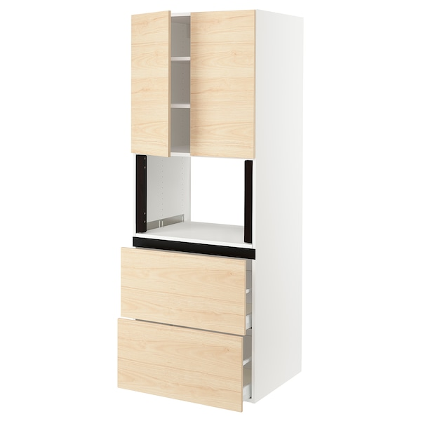 "SEKTION Hi cb f micro w 2 drawers/2 doors, white/Askersund light ash effect, 30x24x80 """