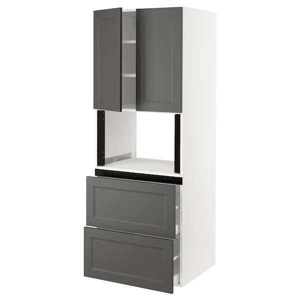 SEKTION Hi cb f micro w 2 drawers/2 doors, white/Axstad dark gray, 30x24x80 ""