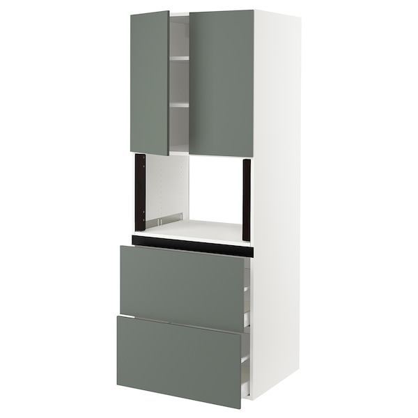 "SEKTION Hi cb f micro w 2 drawers/2 doors, white/Bodarp gray-green, 30x24x80 """