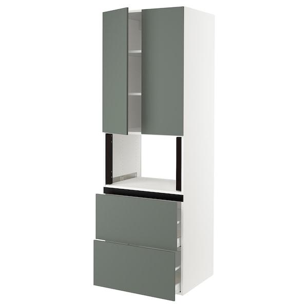 "SEKTION Hi cb f micro w 2 drawers/2 doors, white/Bodarp gray-green, 30x24x90 """