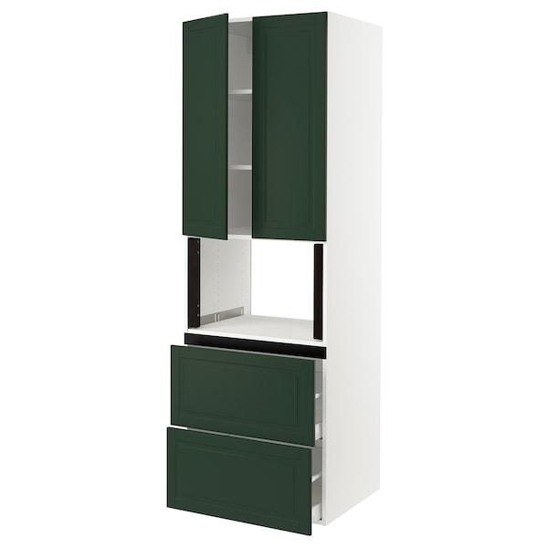 "SEKTION Hi cb f micro w 2 drawers/2 doors, white/Bodbyn dark green, 30x24x90 """