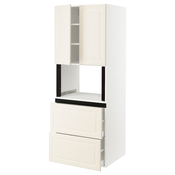 "SEKTION Hi cb f micro w 2 drawers/2 doors, white/Bodbyn off-white, 30x24x80 """