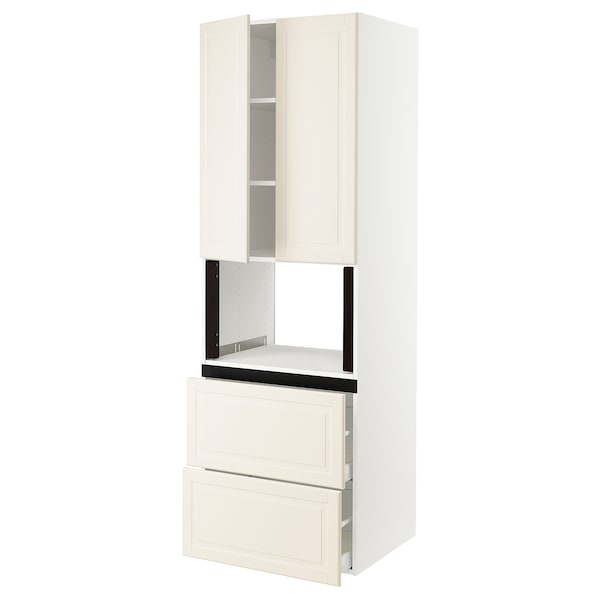 SEKTION Hi cb f micro w 2 drawers/2 doors, white/Bodbyn off-white, 30x24x90 ""