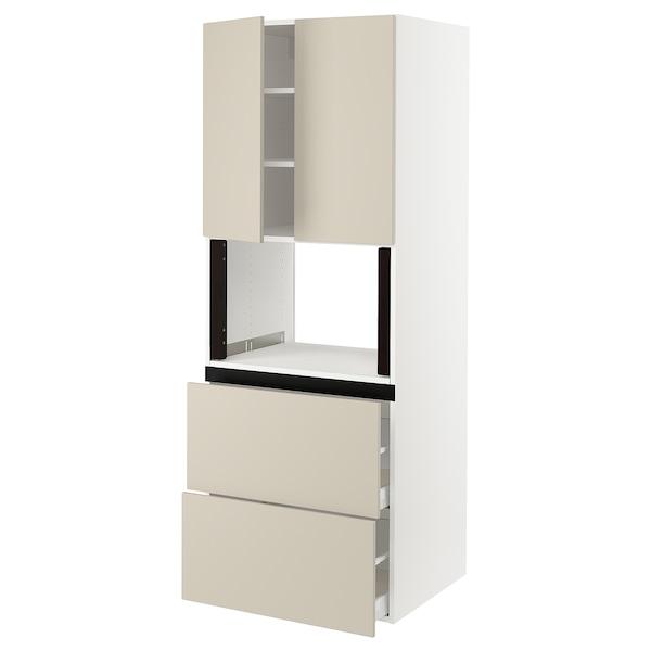 "SEKTION Hi cb f micro w 2 drawers/2 doors, white/Havstorp beige, 30x24x80 """