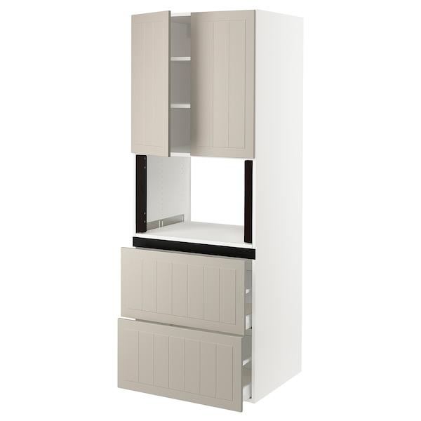 "SEKTION Hi cb f micro w 2 drawers/2 doors, white/Stensund beige, 30x24x80 """