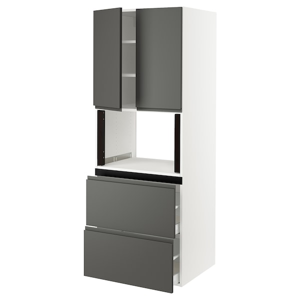 "SEKTION Hi cb f micro w 2 drawers/2 doors, white/Voxtorp dark gray, 30x24x80 """