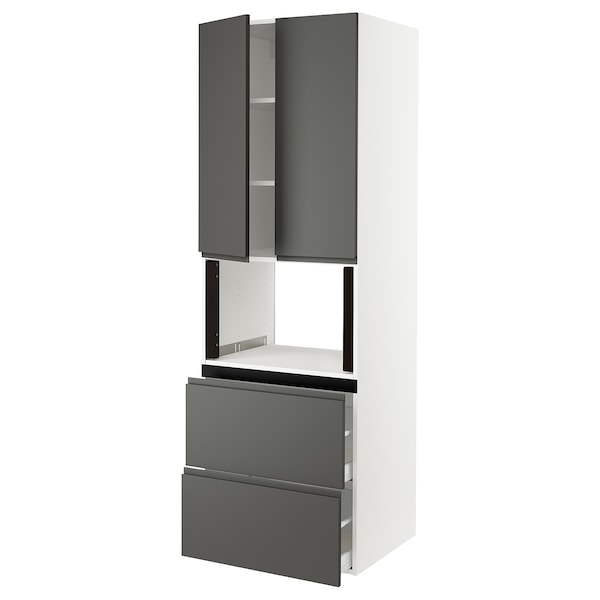 SEKTION Hi cb f micro w 2 drawers/2 doors, white/Voxtorp dark gray, 30x24x90 ""