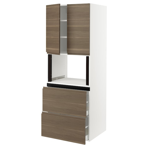 SEKTION Hi cb f micro w 2 drawers/2 doors, white/Voxtorp walnut effect, 30x24x80 ""