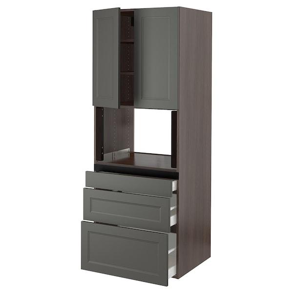 """SEKTION Hi cb f micro w 3 drawers/2 doors, brown/Axstad dark gray, 30x24x80 """""""