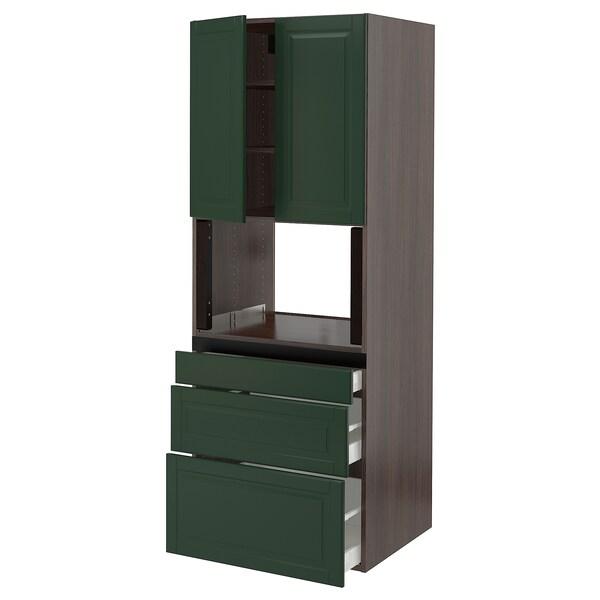 """SEKTION Hi cb f micro w 3 drawers/2 doors, brown/Bodbyn dark green, 30x24x80 """""""