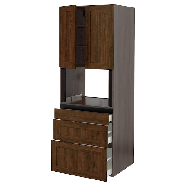 "SEKTION Hi cb f micro w 3 drawers/2 doors, brown/Edserum brown, 30x24x80 """