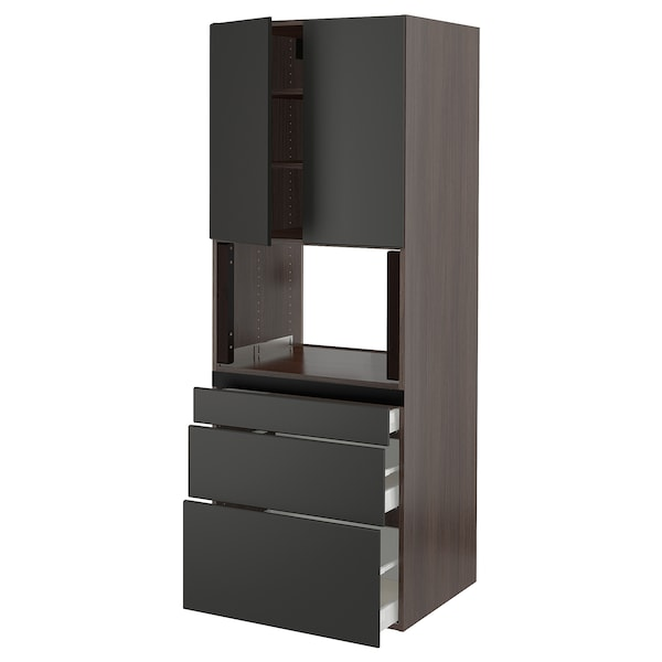 """SEKTION Hi cb f micro w 3 drawers/2 doors, brown/Kungsbacka anthracite, 30x24x80 """""""