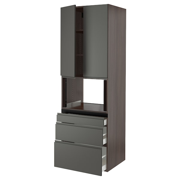 SEKTION Hi cb f micro w 3 drawers/2 doors, brown/Voxtorp dark gray, 30x24x90 ""