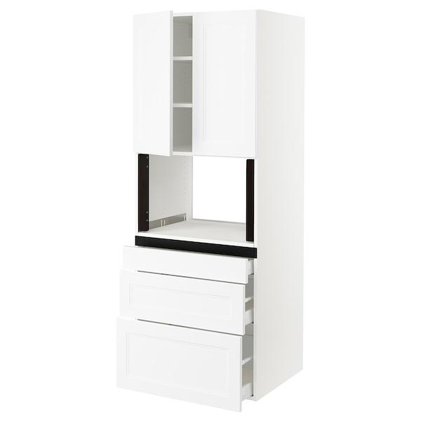 "SEKTION Hi cb f micro w 3 drawers/2 doors, white/Axstad matt white, 30x24x80 """