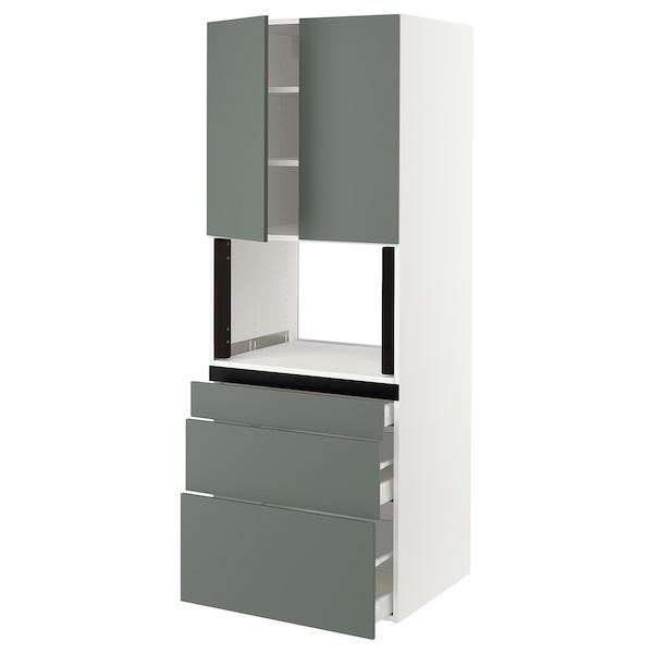 "SEKTION Hi cb f micro w 3 drawers/2 doors, white/Bodarp gray-green, 30x24x80 """
