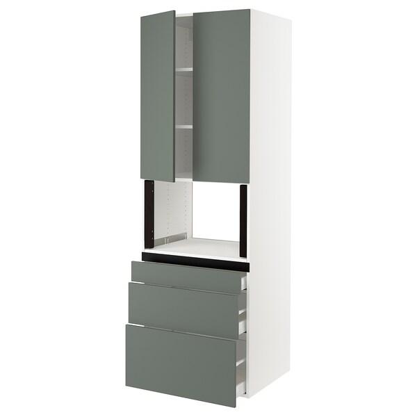 "SEKTION Hi cb f micro w 3 drawers/2 doors, white/Bodarp gray-green, 30x24x90 """