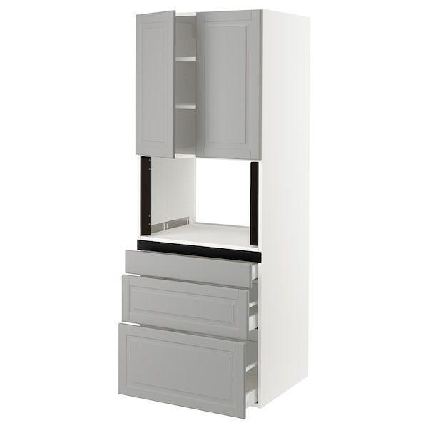 "SEKTION Hi cb f micro w 3 drawers/2 doors, white/Bodbyn gray, 30x24x80 """