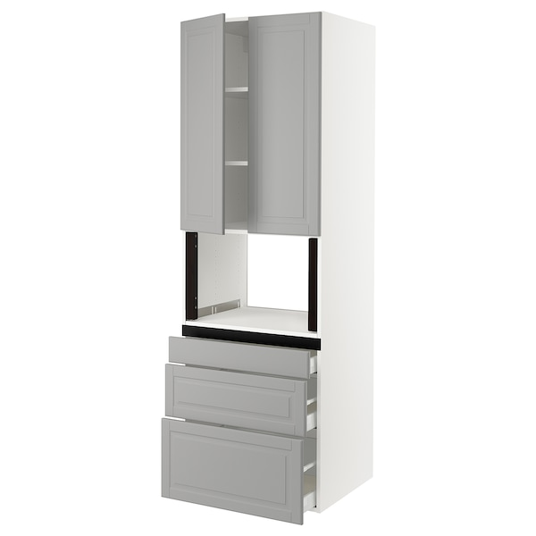 SEKTION Hi cb f micro w 3 drawers/2 doors, white/Bodbyn gray, 30x24x90 ""
