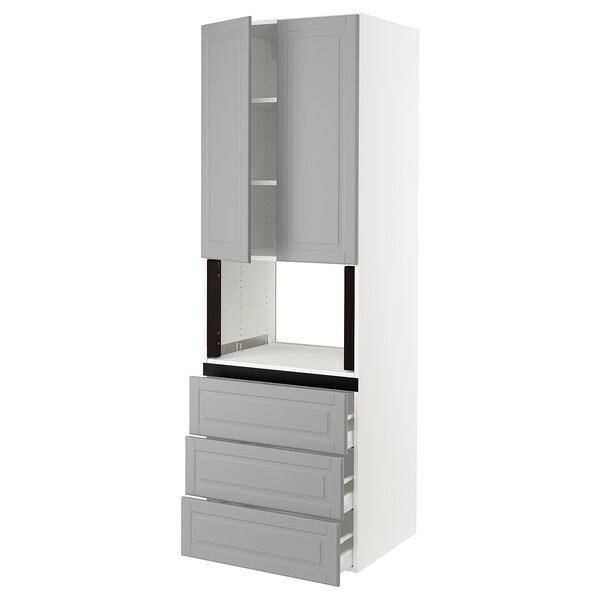 "SEKTION Hi cb f micro w 3 drawers/2 doors, white/Bodbyn gray, 30x24x90 """