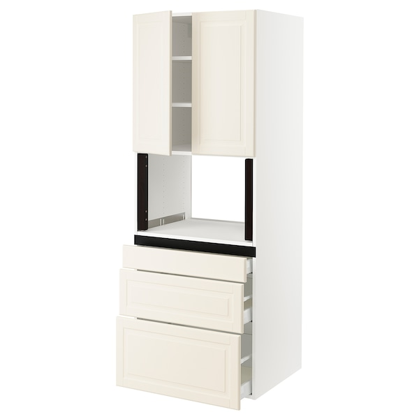 SEKTION Hi cb f micro w 3 drawers/2 doors, white/Bodbyn off-white, 30x24x80 ""