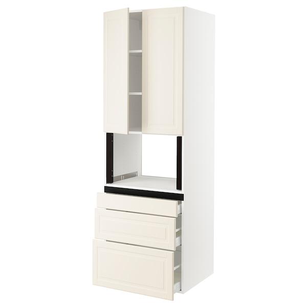 "SEKTION Hi cb f micro w 3 drawers/2 doors, white/Bodbyn off-white, 30x24x90 """