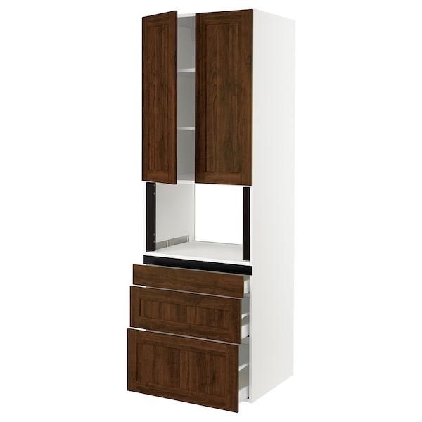 "SEKTION Hi cb f micro w 3 drawers/2 doors, white/Edserum brown, 30x24x90 """