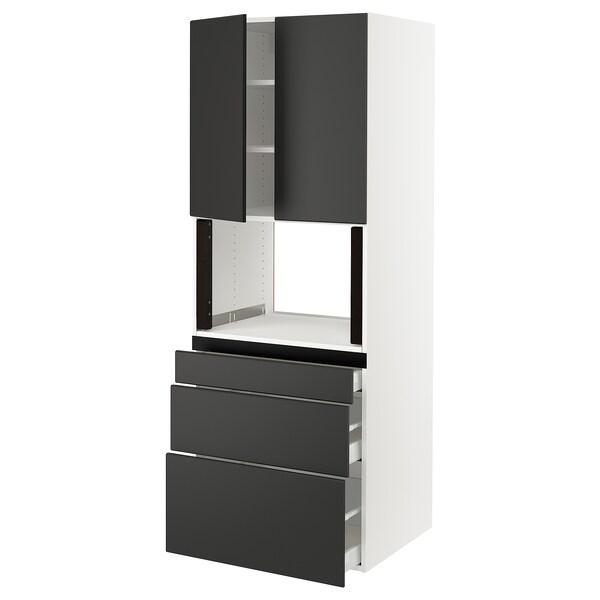 "SEKTION Hi cb f micro w 3 drawers/2 doors, white/Kungsbacka anthracite, 30x24x80 """