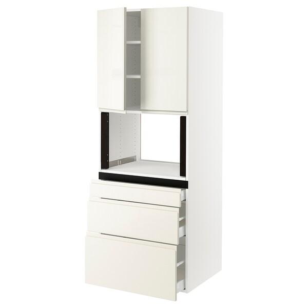 "SEKTION Hi cb f micro w 3 drawers/2 doors, white/Voxtorp high-gloss light beige, 30x24x80 """