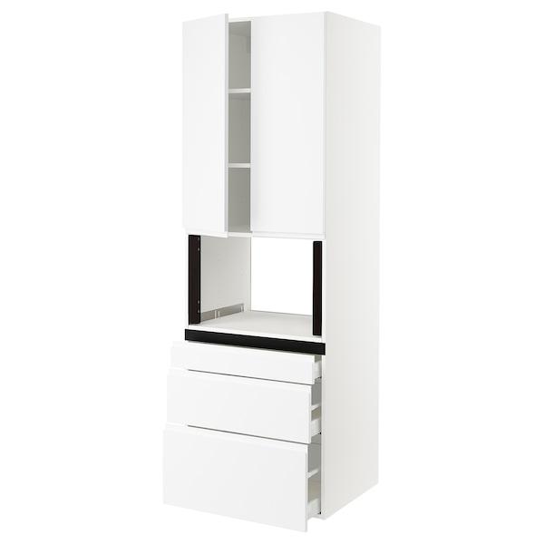 "SEKTION Hi cb f micro w 3 drawers/2 doors, white/Voxtorp matt white, 30x24x90 """