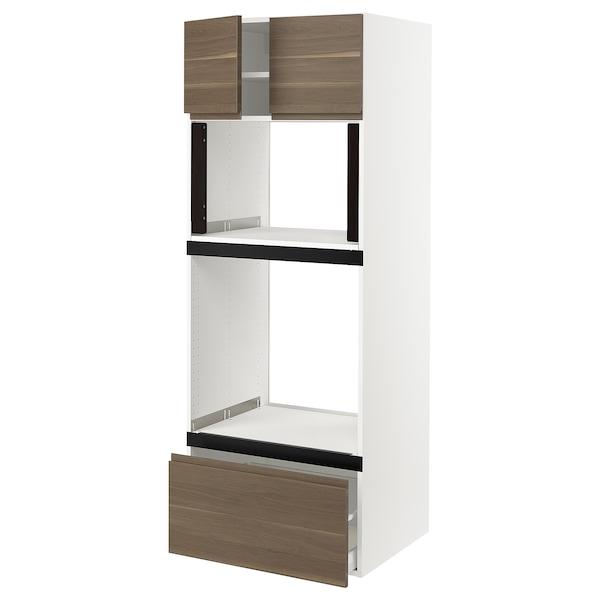 "SEKTION Hi cb f oven/micro w drawer/2 doors, white/Voxtorp walnut effect, 30x24x80 """