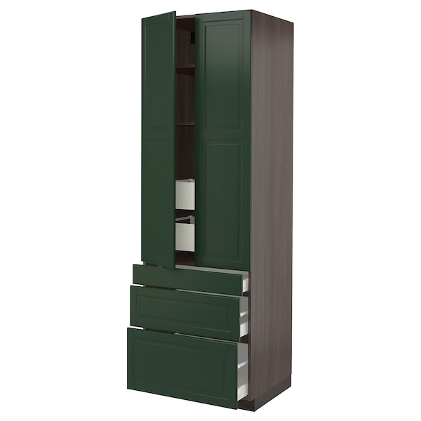 SEKTION High cab w 2 drs/3 fronts/5 drawers, brown/Bodbyn dark green, 30x24x90 ""