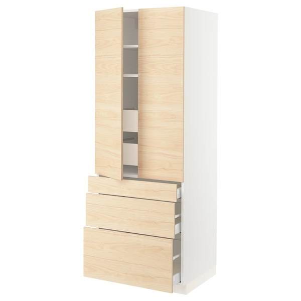 SEKTION High cab w 2 drs/3 fronts/5 drawers, white/Askersund light ash effect, 30x24x80 ""
