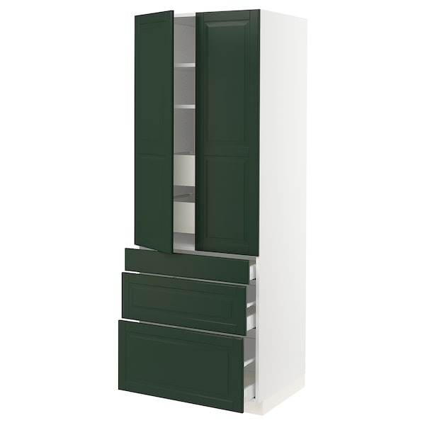 "SEKTION High cab w 2 drs/3 fronts/5 drawers, white/Bodbyn dark green, 30x24x80 """