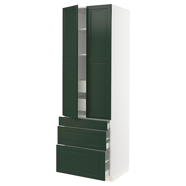 SEKTION High cab w 2 drs/3 fronts/5 drawers, white/Bodbyn dark green, 30x24x90 ""