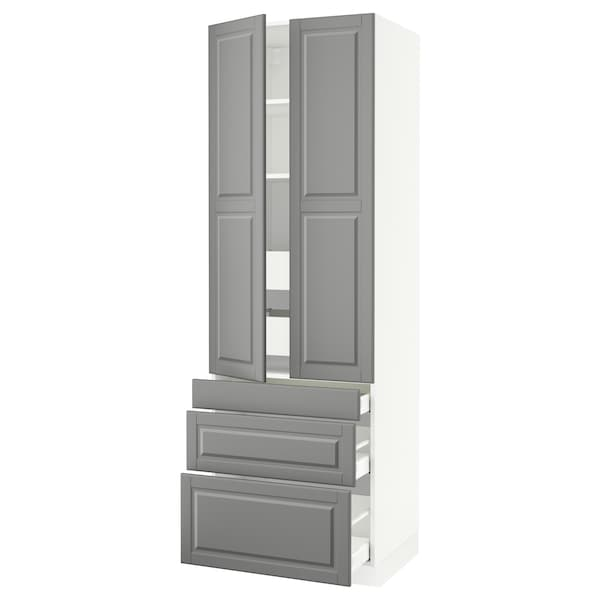 """SEKTION High cab w 2 drs/3 fronts/5 drawers, white/Bodbyn gray, 30x24x90 """""""
