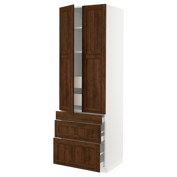 """SEKTION High cab w 2 drs/3 fronts/5 drawers, white/Edserum brown, 30x24x90 """""""