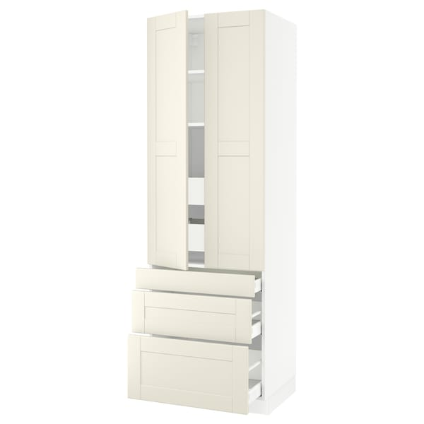 """SEKTION High cab w 2 drs/3 fronts/5 drawers, white/Grimslöv off-white, 30x24x90 """""""
