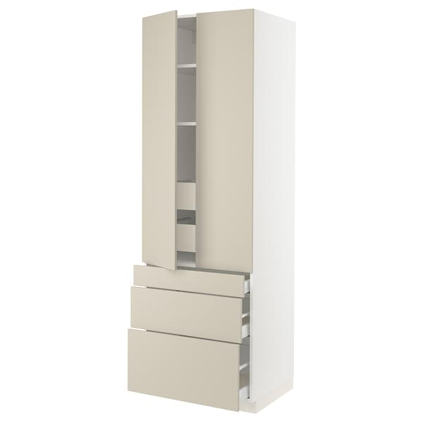 """SEKTION High cab w 2 drs/3 fronts/5 drawers, white/Havstorp beige, 30x24x90 """""""