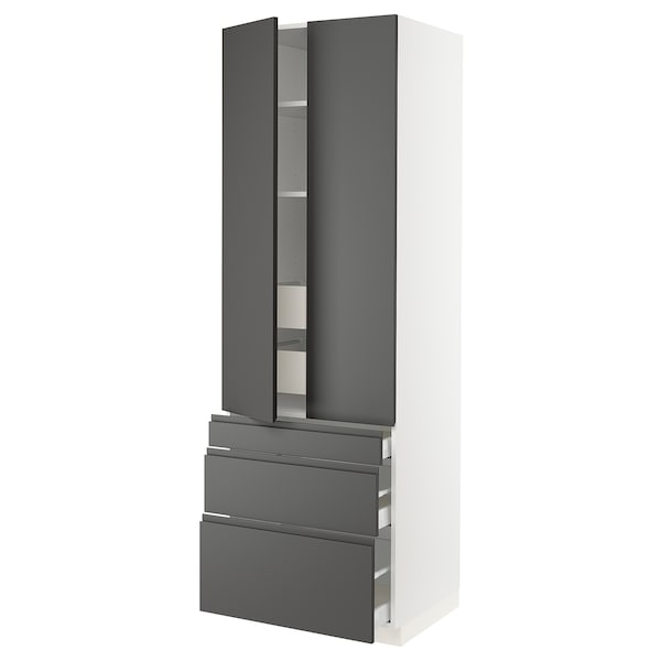 """SEKTION High cab w 2 drs/3 fronts/5 drawers, white/Voxtorp dark gray, 30x24x90 """""""