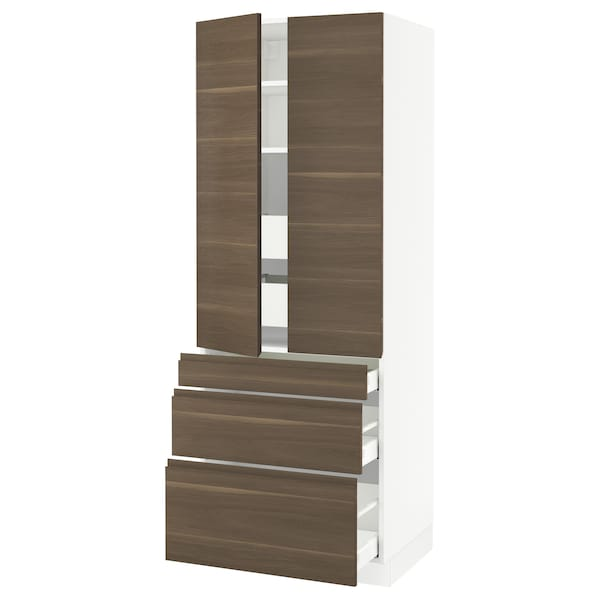"""SEKTION High cab w 2 drs/3 fronts/5 drawers, white/Voxtorp walnut effect, 30x24x80 """""""