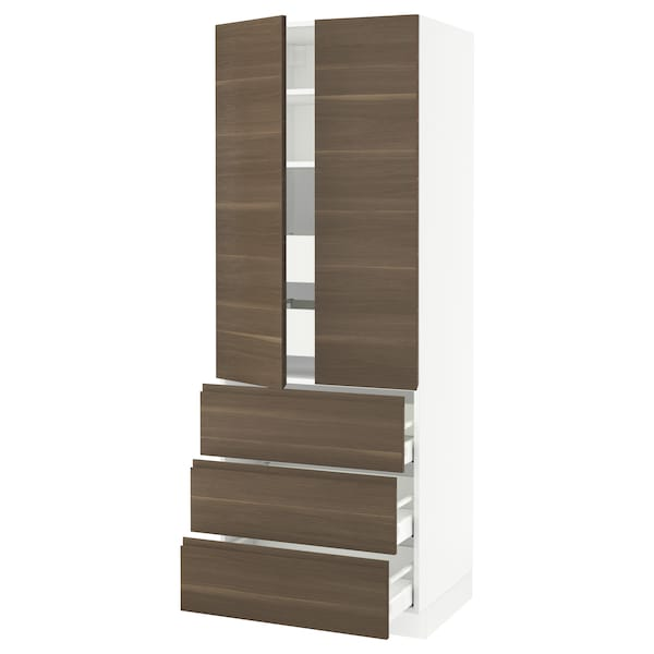 SEKTION High cab w 2 drs/3 fronts/5 drawers, white/Voxtorp walnut effect, 30x24x80 ""
