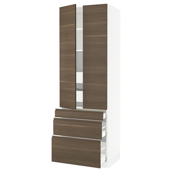 """SEKTION High cab w 2 drs/3 fronts/5 drawers, white/Voxtorp walnut effect, 30x24x90 """""""