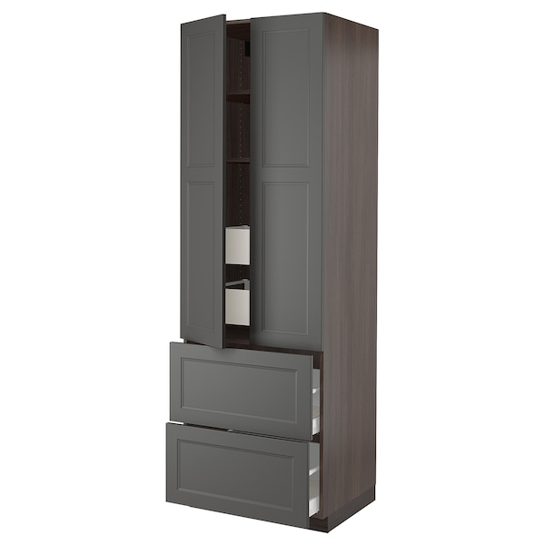 """SEKTION High cab w 2drs/2 fronts/4 drawers, brown/Axstad dark gray, 30x24x90 """""""