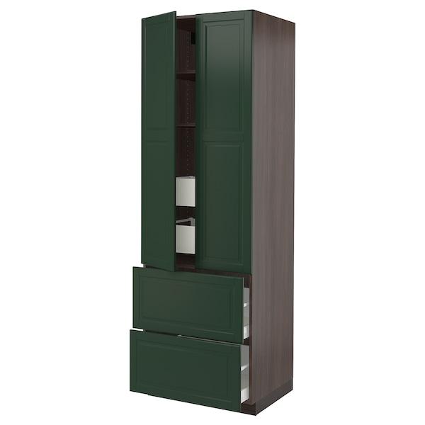 "SEKTION High cab w 2drs/2 fronts/4 drawers, brown/Bodbyn dark green, 30x24x90 """