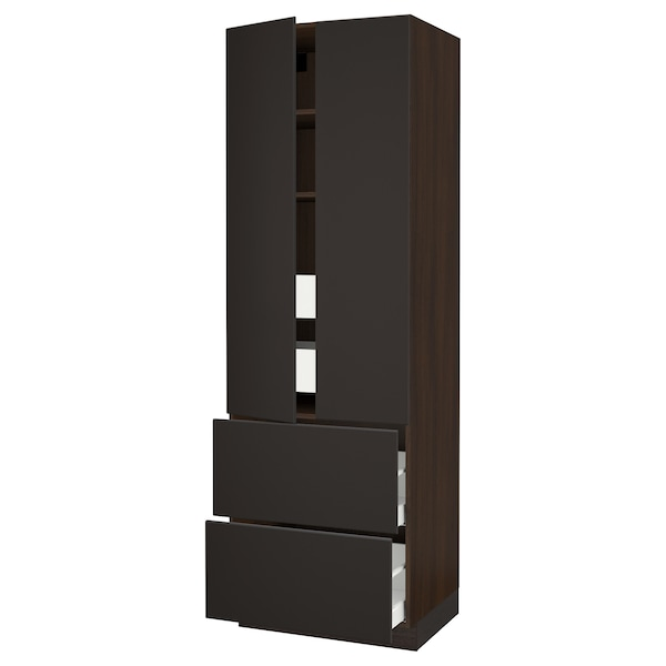 """SEKTION High cab w 2drs/2 fronts/4 drawers, brown/Kungsbacka anthracite, 30x24x90 """""""