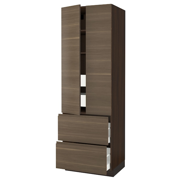 SEKTION High cab w 2drs/2 fronts/4 drawers, brown/Voxtorp walnut effect, 30x24x90 ""