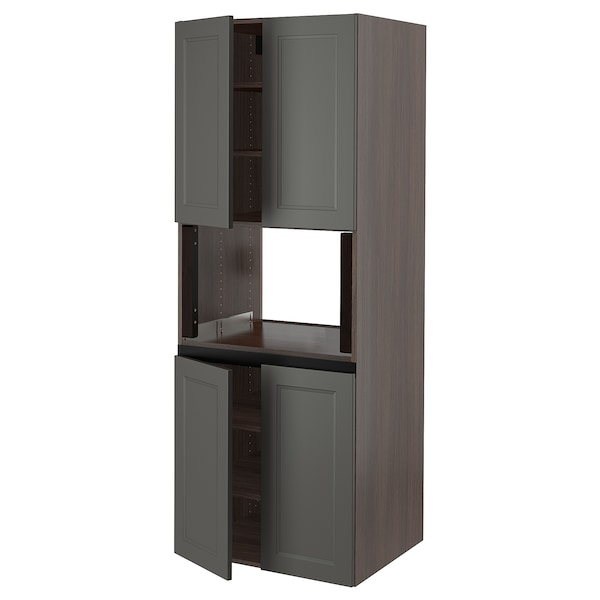 SEKTION High cabinet for micro w 4 doors, brown/Axstad dark gray, 30x24x80 ""