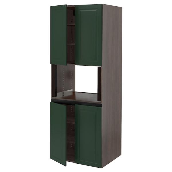 "SEKTION High cabinet for micro w 4 doors, brown/Bodbyn dark green, 30x24x80 """
